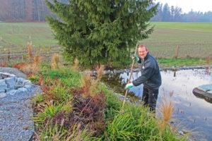 Teichpflege im Frühling Zürich